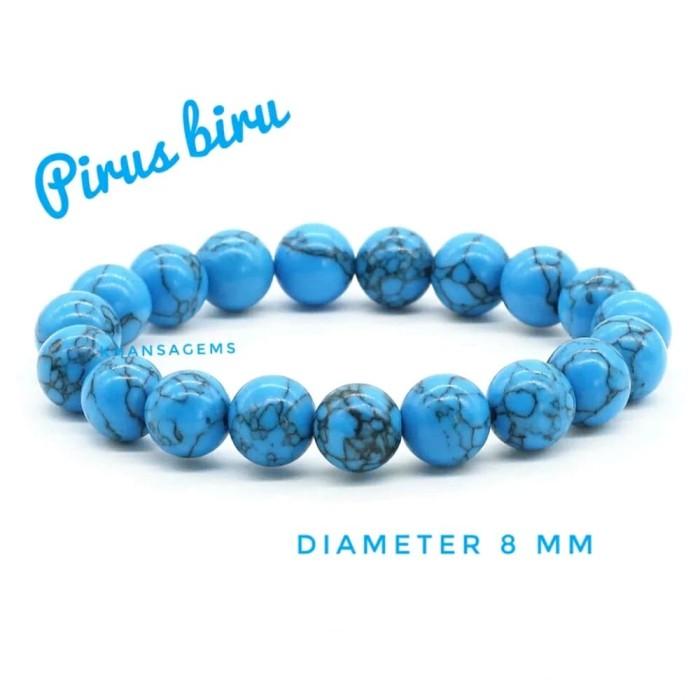 Gelang Batu Pirus Biru Diameter 8 Mm Berkualitas