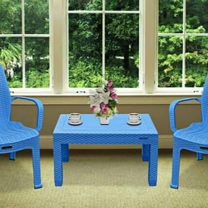 Foto Produk 1set kursi teras plastik warna biru merk Napoly - Biru dari HAPPY PERABOT