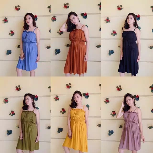 Mini dress wanita / dress pantai / baju pantai / dress polos / 1