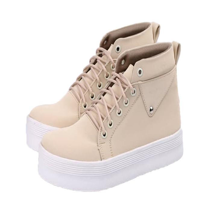 Sepatu Wanita Catenzo Sepatu Boot Cream Cewek Jalan Premium TerKeren