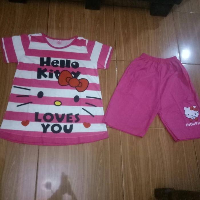 baju setelan anak cewek hello kitty usia 7-10 tahun