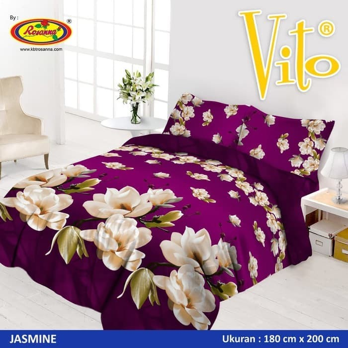 Sprei Vito Disperse Plat King Bantal 4 180x200x20 Jasmine Flower