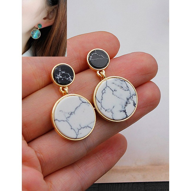 LRC Anting Tusuk Fashion Round Shape Decorated Color Matching Simple