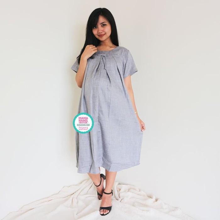 Dress Ibu Hamil Menyusui Modis Cantik Terbaru Kekinian - DRO 943 - Abu-abu  Muda 78e44698fd