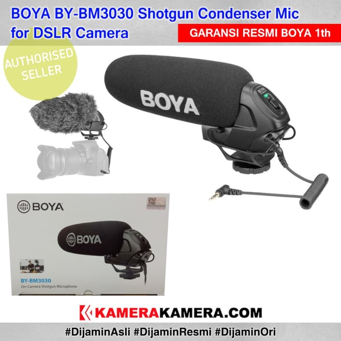 Boya by-bm3030 shotgun condenser mic original resmi for dslr camera