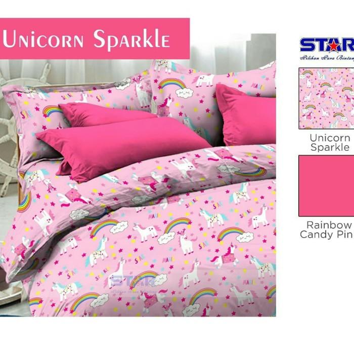 Jual Sprei Dan Bed Cover Unicorn Sparkle Pink Ukuran 100x200x30