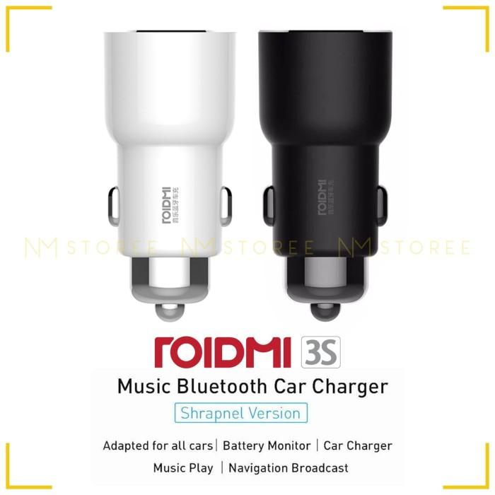 Roidmi 3S Xiaomi Dual USB Car Charger Original - Bluetooth FM & Music - Putih