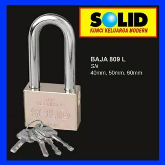 Foto Produk Gembok baja solid 809L 809 L 60mm 60 mm leher panjang kunci pagar dari TB-ACC