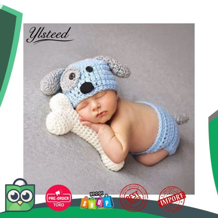 Bayi Lahir Fotografi Alat Peraga Bayi Khawaii Anjing Topi Kostum Set
