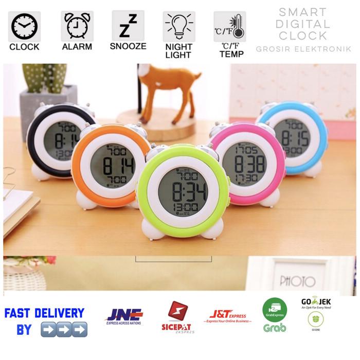 Jam Weker / Digital Desktop Smart Clock / Jam Meja Alarm GH-0705 - Hitam