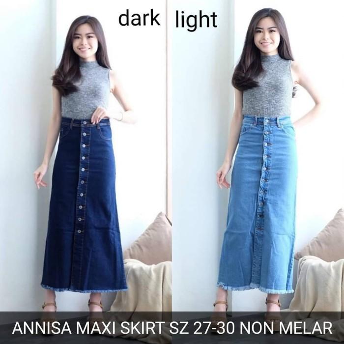 78a0c7a7460ef5 Rok Jeans Wanita Annisa Maxi Skirt Button Panjang Skinny Stretch Murah