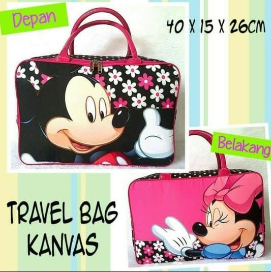 tas travel bag kanvas/tas baju/tas tenteng baju/koper/minnie