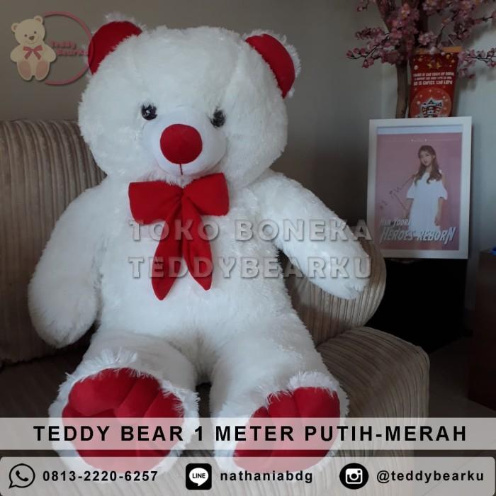 Jual Boneka Teddy Bear Jumbo 1 Meter Warna Putih Merah Khas Bandung ... c02b9fdb48