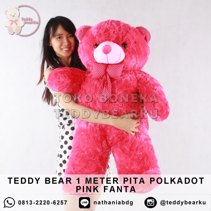Boneka teddy bear jumbo 1 meter pita polkadot pink fanta . a4cd40a3b8