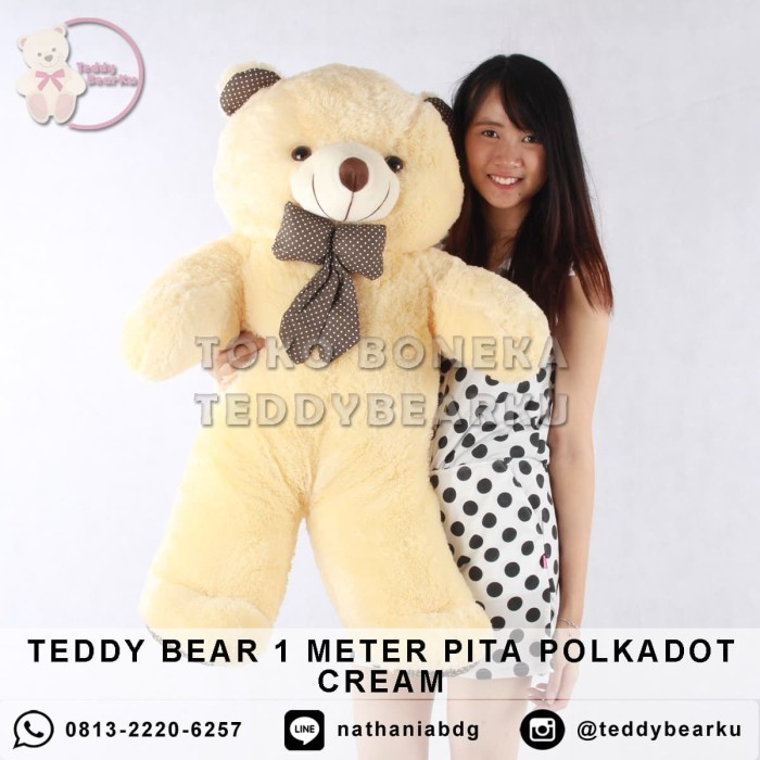 ... harga Boneka teddy bear jumbo 1 meter pita polkadot cream Tokopedia.com d726b7fa5f