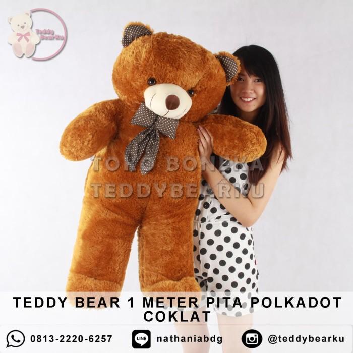 harga Boneka teddy bear jumbo 1 meter pita polkadot coklat Tokopedia.com
