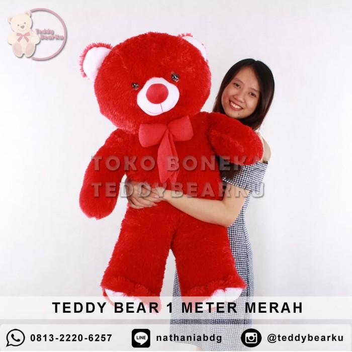 ... harga Jual boneka teddy bear jumbo 1 meter warna merah khas bandung  Tokopedia.com b356c3da69