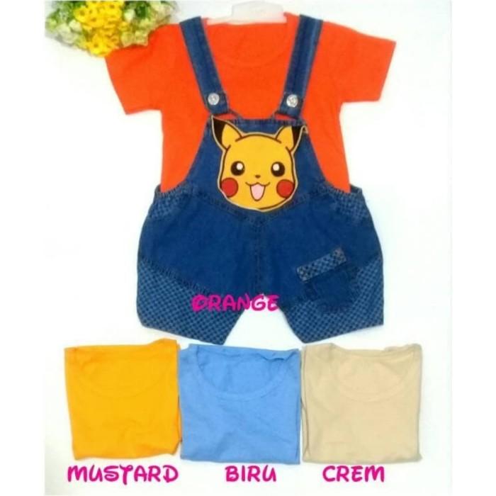 Baju anak perempuan / set overall pikachu & kaos oblong / baju kodok