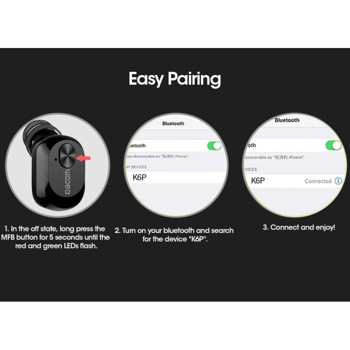 a6f92df717b Jual Dacom K6P Mono Earphone Bluetooth With Charger Case - Black ...