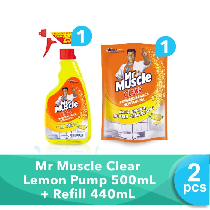 harga Mr muscle clear lemon pump 500ml + refill 440ml Tokopedia.com