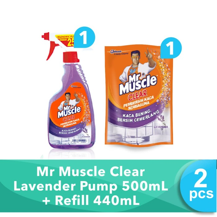 harga Mr muscle clear lavender pump 500ml + refill 440ml Tokopedia.com