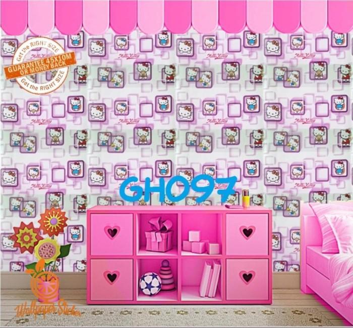 Jual Wallpaper Stiker Dinding Motif Hello Kitty Kotak 3d Pink