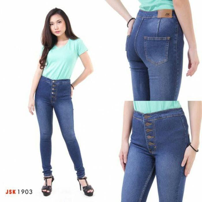 (3 Warna) Celana Panjang highwaist Kancing 5 skinny Soft Jeans Wanita