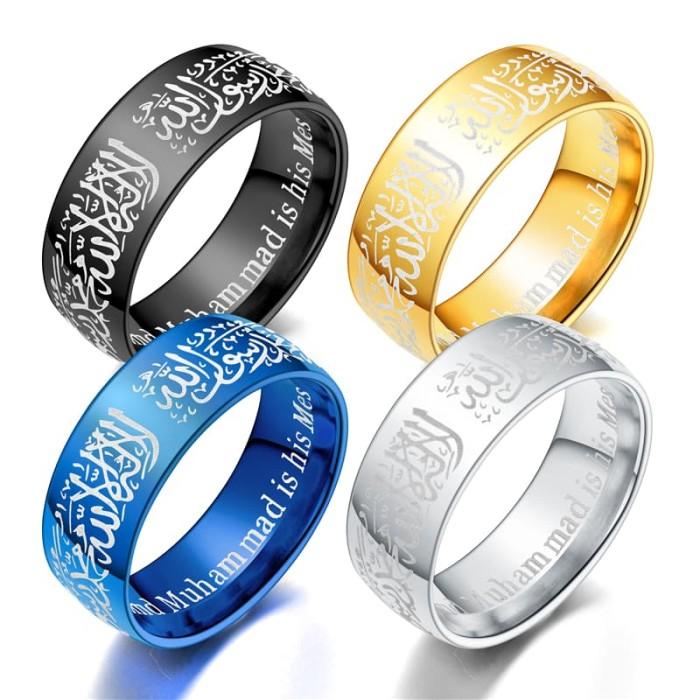 Jual Cincin Islami Tauhid Kaligrafi Arab Syahadat 8mm Emas 11 Kota Tangerang Gg Jewelry Tokopedia