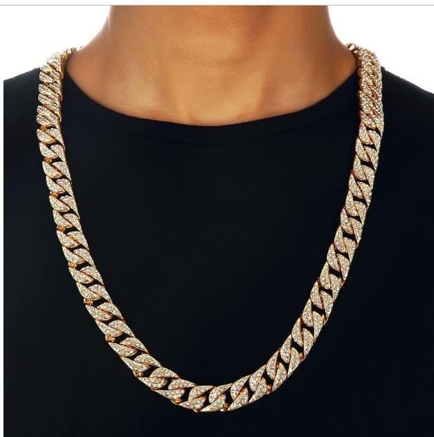 Rhinestone Golden Finish Miami Cuban Chain 30/32/35 inc