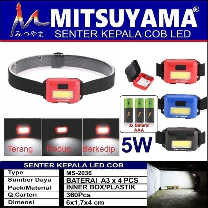 Foto Produk Senter Kepala LED COB 3 Mode Cahaya Headlamp Mitsuyama MS-2036 dari grosirltc