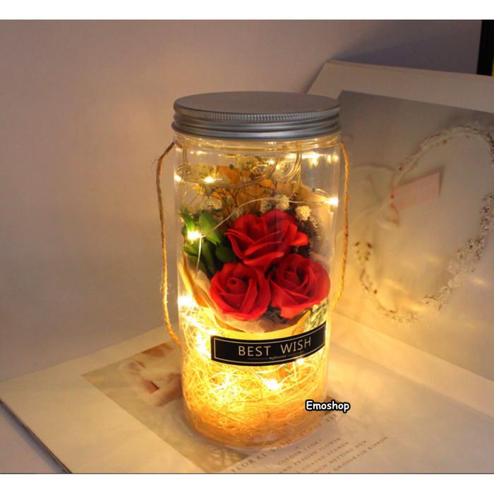 Foto Produk BUKET BUNGA MAWAR LED MENYALA buket wisuda,kado anniversary,kado anak - Merah dari Emo Shop