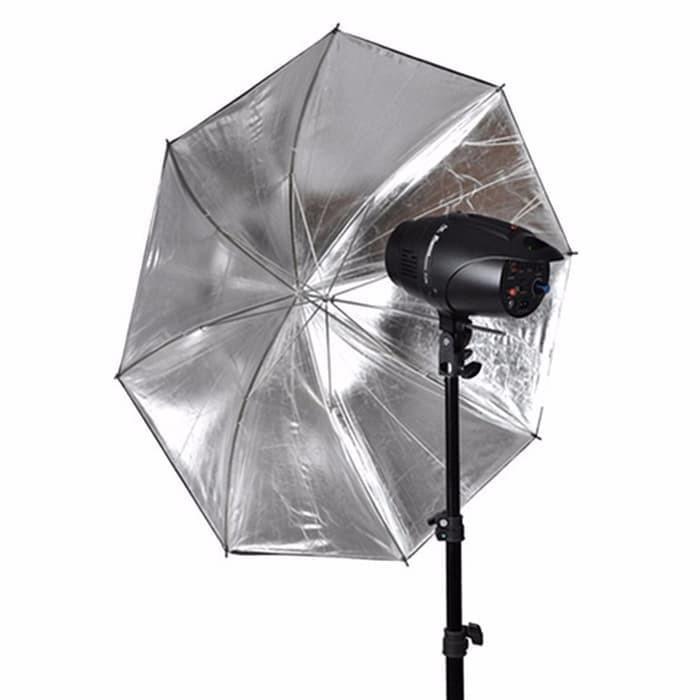 Foto Produk Payung Reflektor 110cm 43Inch Hitam Silver 60cm Fotografi dari Grosir Aksesoris Kamera