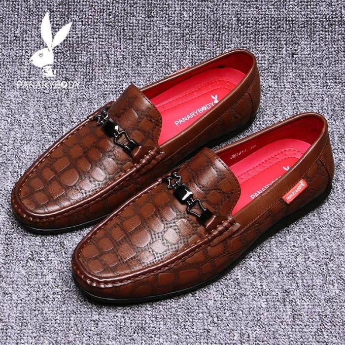 Sepatu Pria Casual Nyaman Sepatu Kasual Mengemudi Non-slip Coklat hita