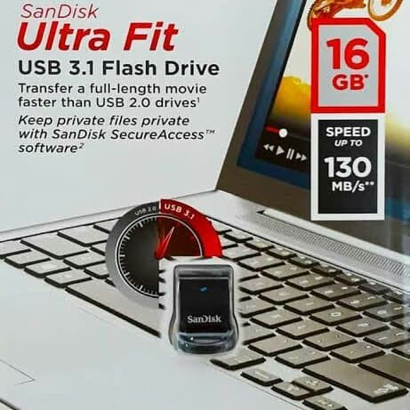 Foto Produk Sandisk Ultra Fit USB 3.1 Flashdisk 16GB - SDCZ430 - Black dari PROTECH