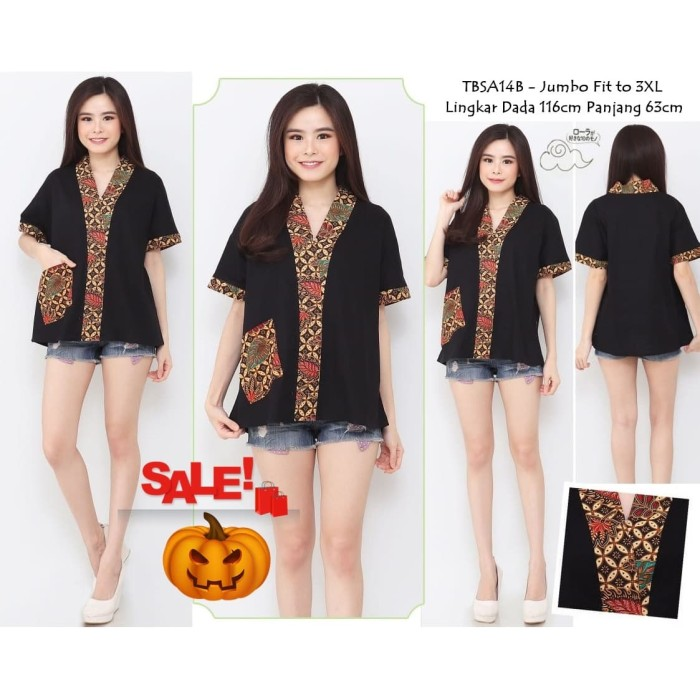 harga Blouse batik kombinasi wanita katun prima sale fit to xxl tbsa14 Tokopedia.com