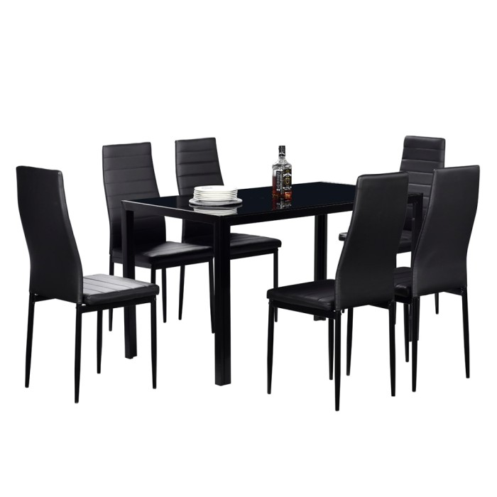 Jual Premium Us Shipping Dining Table Set Glass Steel 7 Piece Set For 6 Kota Surabaya Shop Ambarawa Tokopedia