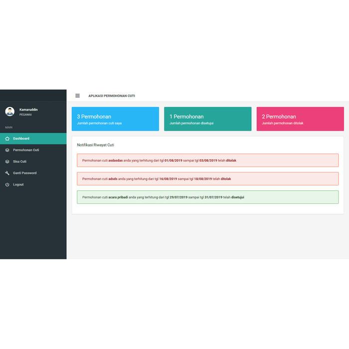 Foto Produk Source code aplikasi pengajuan cuti berbasis web dari Otakcoding com