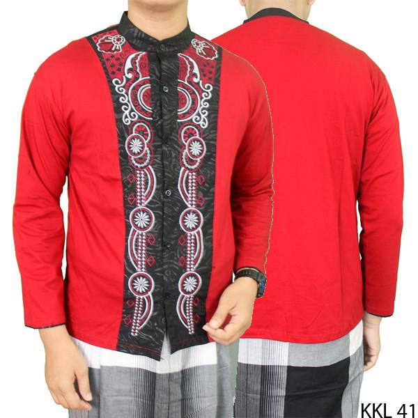 Baju koko lengan panjang modis keren - merah xl