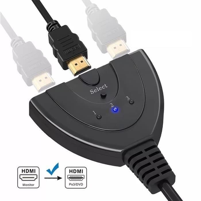 Foto Produk HDMI Switch cdf3 Port 3 in 3 out HDMI Swticher Kable 3 Input 1 Output dari MT Elektronik