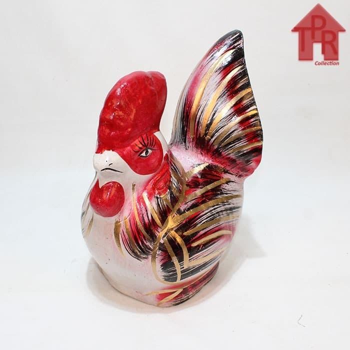 Foto Produk Celengan ayam jago tradisional merah gold - S dari Toko Pernik Rumah