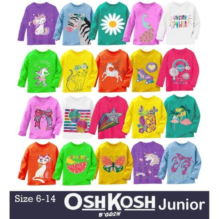 Foto Produk BISA COD OSHKOSH KIDS Kaos Anak Perempuan Lengan Panjang Motif dari aminaahcom