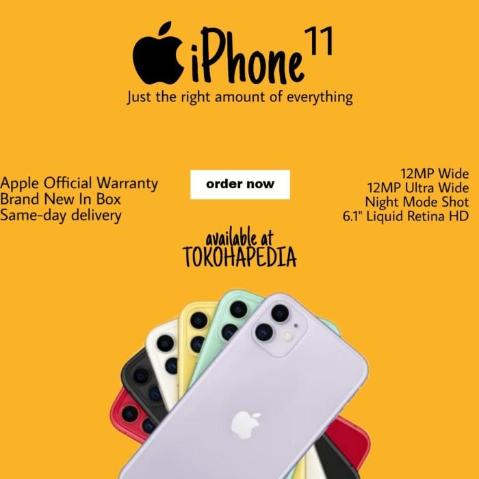 Foto Produk [DUAL SIM] iPhone 11 64GB / 64 RED, BLACK, WHITE, PURPLE, GREEN - DUAL NANO BLACK dari tokohapedia