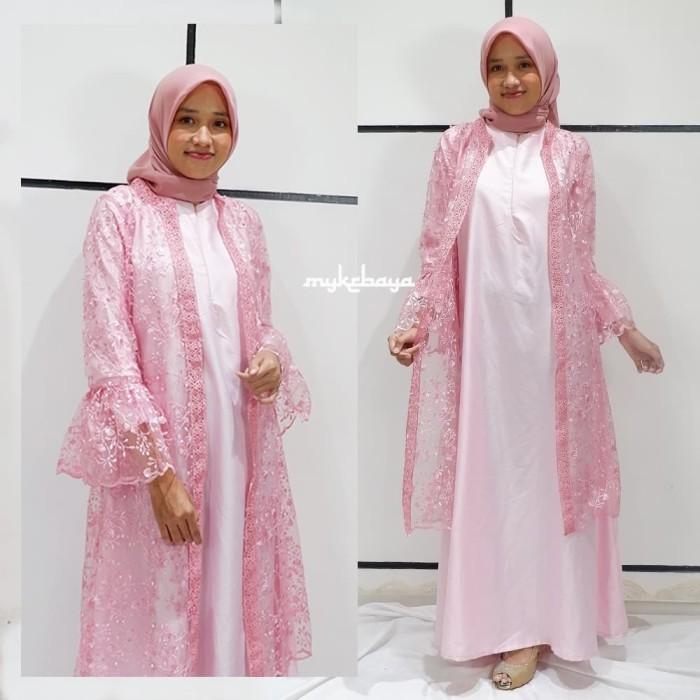 Model Baju Gamis Brokat Cardigan Hijabfest