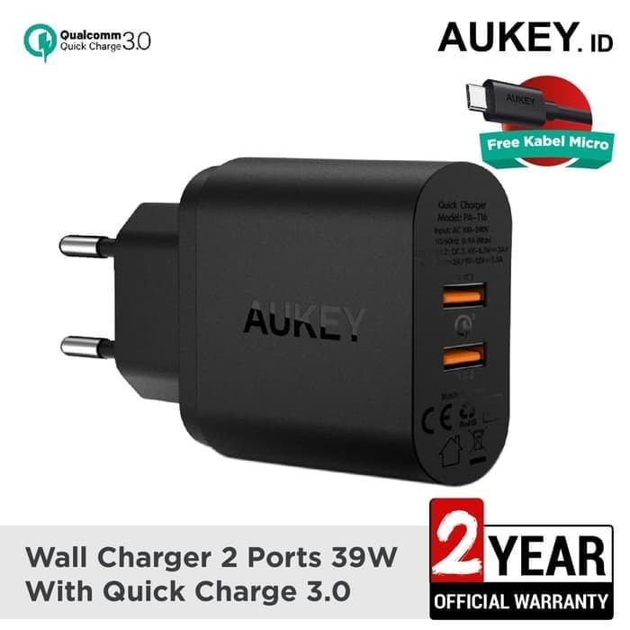 Foto Produk Aukey Charger 2 Ports 36W Quick Charge 3.0 Fast Charging PA-T16 dari Shafar Store