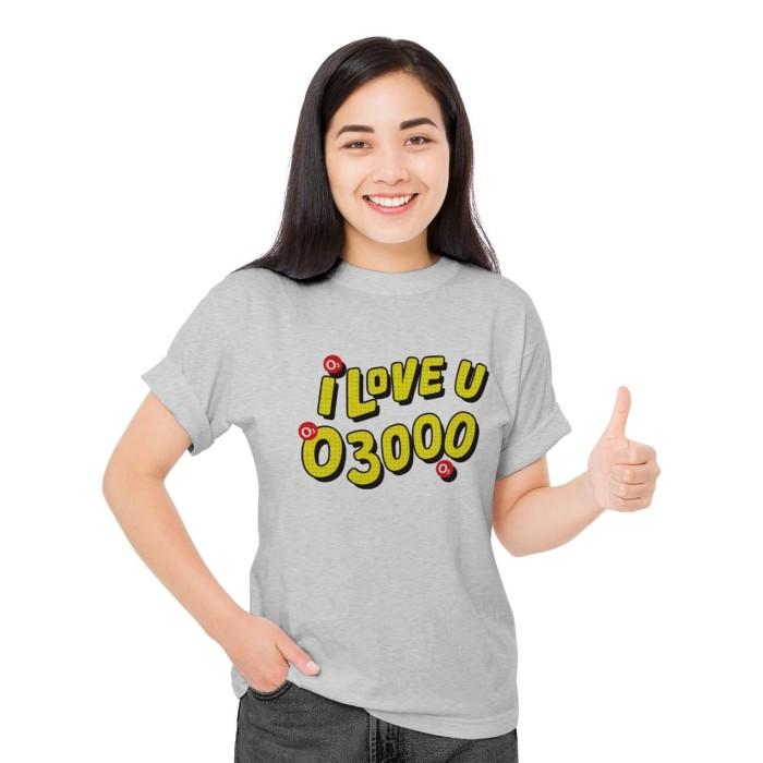 Foto Produk Baju Kaos Atasan Cewek DTG T-Shirt Distro Fashion Wanita i love u 3000 - Putih, XS dari Air Minum Biru