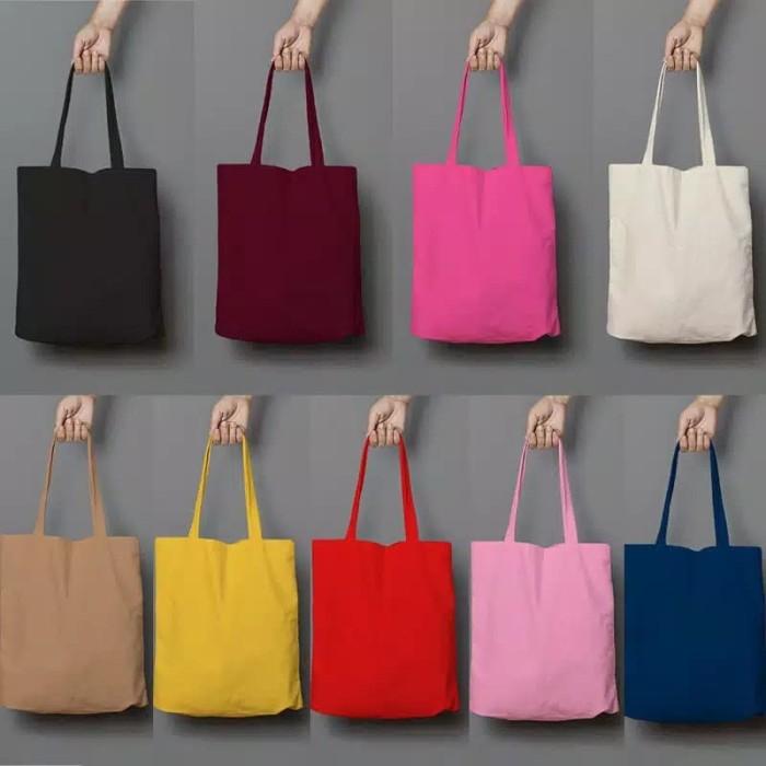 Foto Produk Tote bag polos/totebag/semi kanvas/anti air - Putih dari Rizkishoes