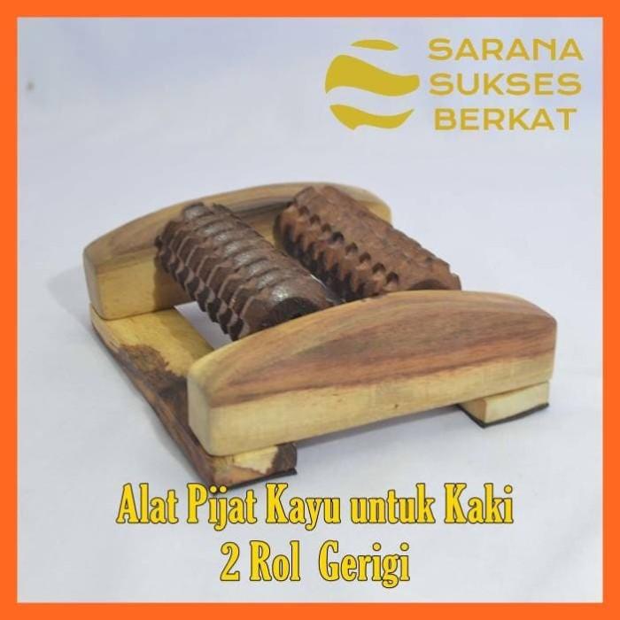 Foto Produk Alat Pijat Kayu untuk Refleksi Kaki 2 Rol Gerigi dari Sarana Sukses Berkat