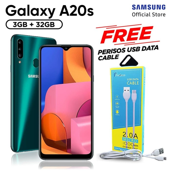 harga Samsung galaxy a20s 3/32gb free perisos micro usb cable - garansi sein - hijau Tokopedia.com