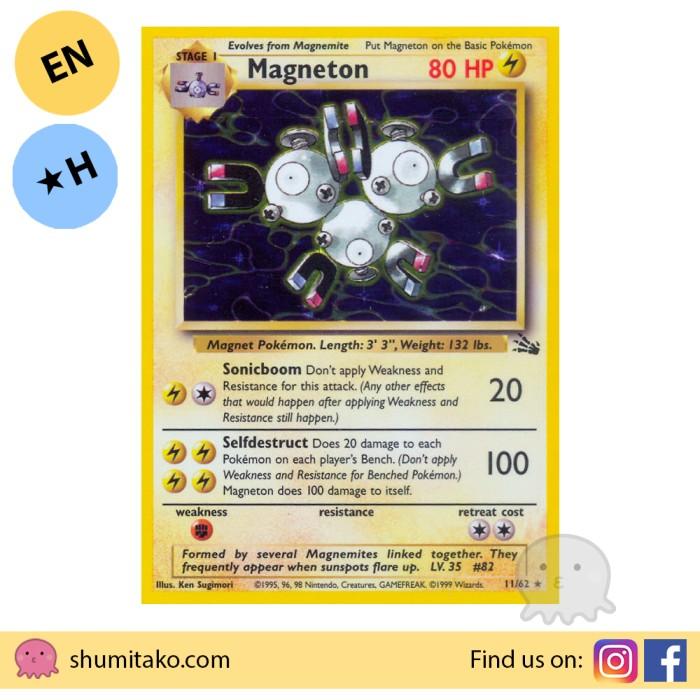 Pokemon Magneton Fossil Set 11//62 Rare Holo Played
