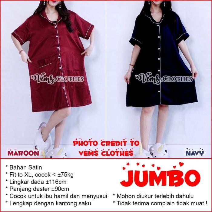 Foto Produk Daster Jumbo Satin Piyama Jumbo Baju Tidur Jumbo Fit to XL MARUNO - Embos Maroon dari Baju Anak Maruno